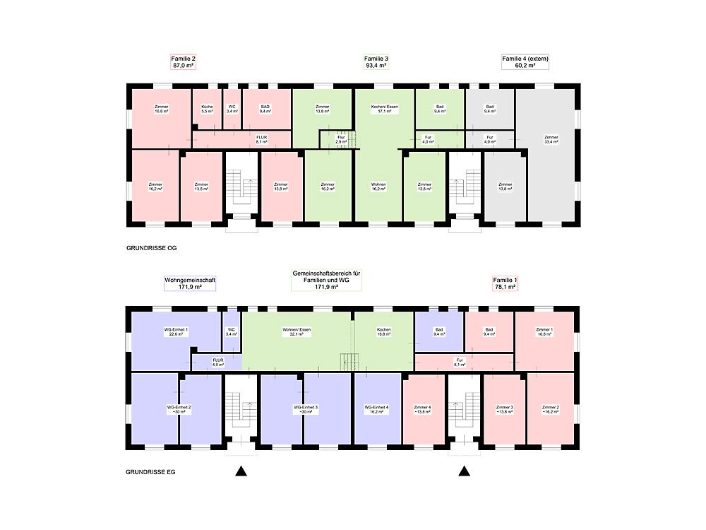 Grundrisskonzept für die Umnutzung der beiden aneinandergrenzenen Wohngebäude, die für die neue Nutzung durch die Baugemeinschaft umgebaut werden sollen.
