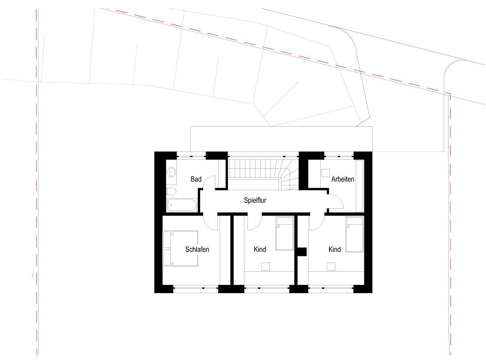 Neubau Einfamilienhaus Coswig - Grundriss Obergeschoss