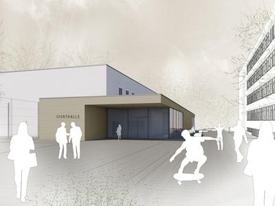 Neubau Zweifeldsporthalle BSZ Bau und Technik Dresden